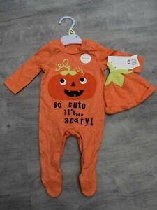 BABY BOYS OR GIRLS NEW BORN PUMPKIN HALLOWEEN FANCY DRESS + HAT UP TO 1 MONTH