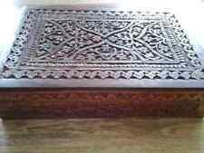 Tarot box double taille sculptée à la main en palissandre bois ideal 2 Decks Ange ou Tarot
