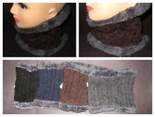 4 Mens Neck Warmer Wrap Faux Fur Black Brown Gray Dark Blue