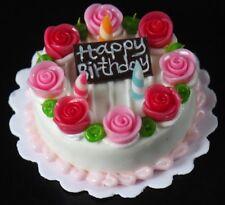 Dollhouse Miniatures Birthday Strawberry Rose Cream Cake Food Deco Barbie 30 mm
