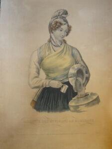 GRANDE LITHO PORTRAIT FEMME BORDEAUX AQUITAINE MODE COSTUME BORDELAIS 1830