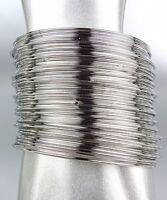 GORGEOUS & STYLISH 50 PCS Thin Individual Layered Silver Bangle Bracelets Set