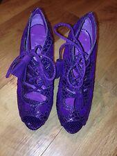Matalan Peeptoe Ante Morado/parte superior de cuero Zapatos de Cordones Talla 4