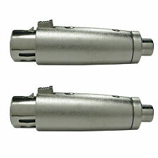 2 PACK XLR 3pin FEMALE to RCA female Pa DJ mixer mic jack connector adapter plug