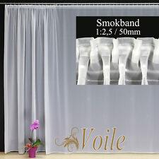 Hochwertige Gardine Fertiggardinen Voile Store Vorhang SMOKBAND 1:2,5 / 50 mm
