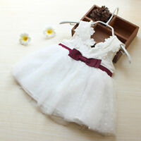 Infant Kids Baby Girl Lace Bow Tulle Princess Tutu Dresses Pageant Gown HOT