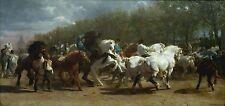 "Rosa Bonheur, 1852, antique, Horse Fair, Western, 20""x10"" CANVAS ART"