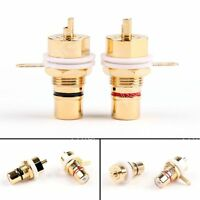 10 Set CMC Copper Plated RCA Female Phono Jack Panel Chassis Connector Red/Black
