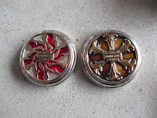 Lot of 2 Franklin Mint Harley Davidson Cycles Pocket Watch Sample Lid Covers