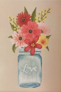 FLOWERS in LOVE Glass Vase jar wall stickers MURAL 3 large decals daisy bouquet