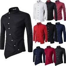 Mens Stylish Shirts Luxury Slim Fit Long Sleeve Casual Formal T-Shirt Top Blouse