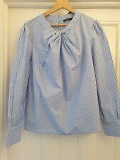 M&S  Pure Cotton Blue White Striped Twist Front Blouse  Size 16 BNWT