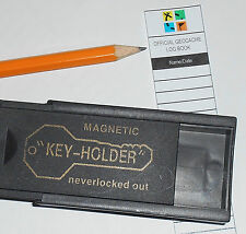 Magnetic Key Holder Cache Container for Geocaching Full Kit w/ Log Book & Pencil