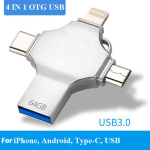 OTG USB3.0 Flash Drive for iPhone Smart Phone Tablet PC 4 in 1 16G 128G 512G 1TB