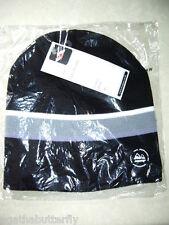 TRESPASS Beanie Hat Black Grey White Stripe Adult One Size Rib Knit Tantie NEW