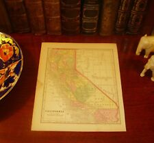 Original Pre-Civil War 1857 Hand-Colored Antique Map CALIFORNIA Sacramento CA