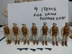 Vintage Star Wars GOOD Cond.7x Rebel Soldier Figures 5x Complete With Repro Guns
