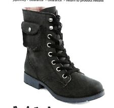 """NEW WOMENS """"ARIZONA"""" LACE-UP MILITARY BOOTS W/POCKET - SIZE: 7 M  COLOR: BLACK"""