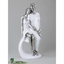 Dekofiguren, Skulptur PAAR SITZEND weiß silber H. 36cm B. 13,5cm Formano