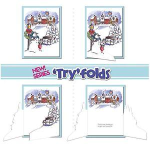 Christmas Village, TRYFOLDS Unmounted Stamp Set ART IMPRESSIONS - NEW UM4206