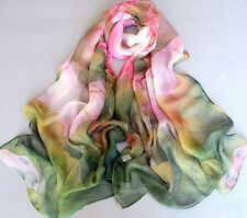 Fashion Spring Green Georgette Chiffon Long Scarf Painting Big Pink Lotus Flower