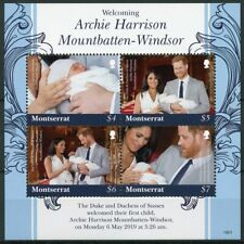 More details for montserrat royalty stamps 2019 mnh prince archie royal baby harry meghan 4v m/s
