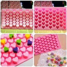 Cute 55 Mini Heart Shape Silicone Ice Cube Fondant Chocolate Tray Mold Mould @