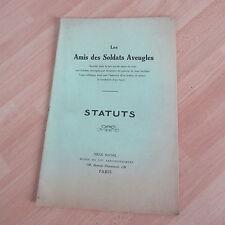 les AMIS DES SOLDATS AVEUGLES STATUTS 1915