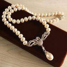 Collier Perle de Culture Blanche Sygne Argent 925 Zircon Pendante Goutte TZ