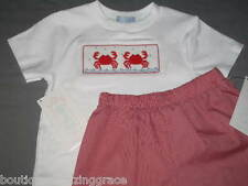 Smocked Tee SHIRT CRABS Shorts SET size 2T Boys Girls Vive La Fete beach