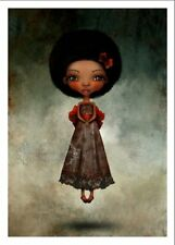 'Happy Thoughts' Peter Pan inspired Art African American Girl Art 5x7