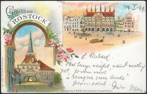 Postkarte Gruss aus Rostock Stein Thor, Marktplatz, litho, Bahnpost Zug 48 1899