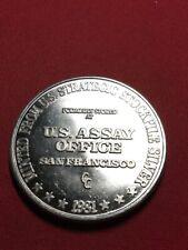 New listing Vintage 1 oz .999 Silver Art Bar Round U.S. Assay Office Sf Silver Eagle Flag B6