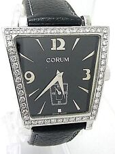 "CORUM ""TRAPEZE"" Pavee Diamonds Stainless Steel Gent's Size Mint Condition Watch."