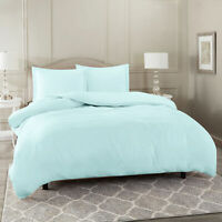 Duvet Cover Set Soft Brushed Comforter Cover W/Pillow Sham, Baby Blue - Queen