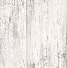 FineDecor Wallpaper - Loft Wood Panel - Metallic Silver Effect - White - FD41957