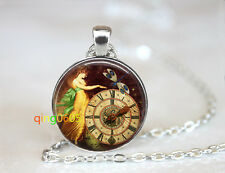 Steampunk Butterfly Clock dome Tibet silver Chain Pendant Necklace wholesale