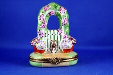 New ListingPeint Main Limoges France Artoria China Trinket Box Rose Arbor with Bunny