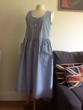 Vintage Laura Ashley cotton patch pocket prairie pinafore dress size 14