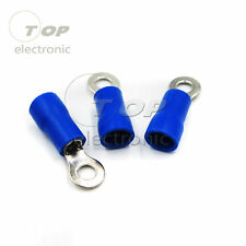 100pcs Crimp Terminal RV2-3 Round Pre-insulated Type O Blue Ring Terminal
