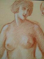 Dessins originaux études de nus curiosa sanguine femmes Art Déco esquisses