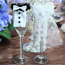 NewCouple wedding party wine glass bride groom tux bridal  toast giRCUSA_drDIUS