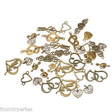 20 Mixte Pendentifs Connecteur Accessoire Coeur Pr Bracelet Collier Bronze