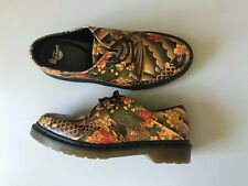 Rare Dr MARTENS 1461 Japanese Tattoo Art Printed Leather Shoes Size 41 Unisex