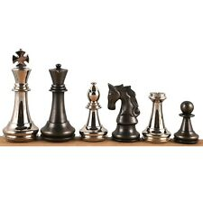 """4.3"""" Staunton Inspired Brass Metal Luxury Chess Pieces Only Set-Silver & Antique"""