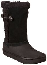 CROCS Women's Modessa Suede Button Furry Boot Espresso Brown  Lined W6 new