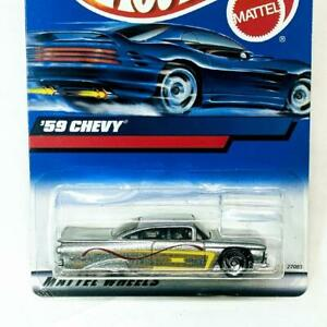 2000 Hot Wheels Blue Card '59 Chevy Coupe Silver Red Yellow SB Wheels Collector