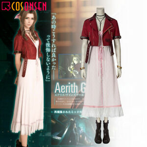 Final Fantasy VII FF7 Remake Aerith Gainsborough Cosplay Costume Full Suit Dress