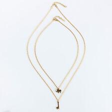 Elephant Giraffe Necklace Boho Adjustable Chain Layering Double Necklace LD