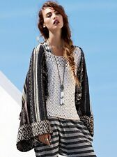 Free People Boho Festival Wool Striped Kimono Sweater Cardigan XS $268 Rare